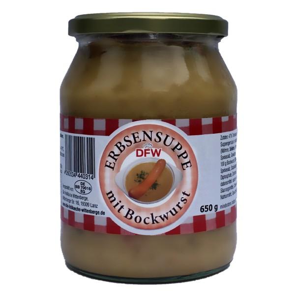 Erbsensuppe mit Bockwurst